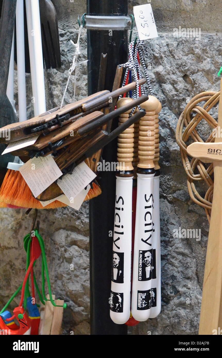 mafia souvenirs on sale in sicily - Stock Image