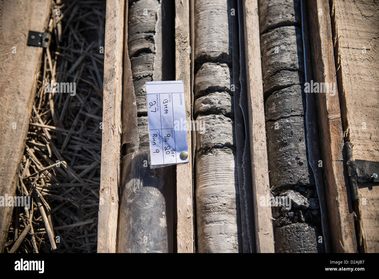 Drill core samples at coal mine - Stock Image