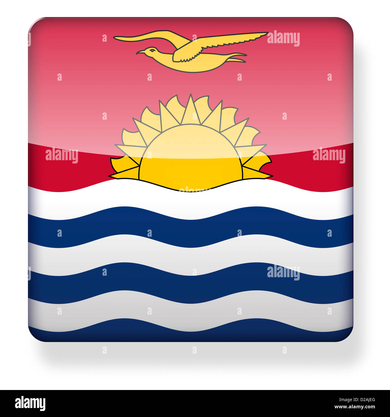 Kiribati flag as an app icon. Clipping path included. - Stock Image