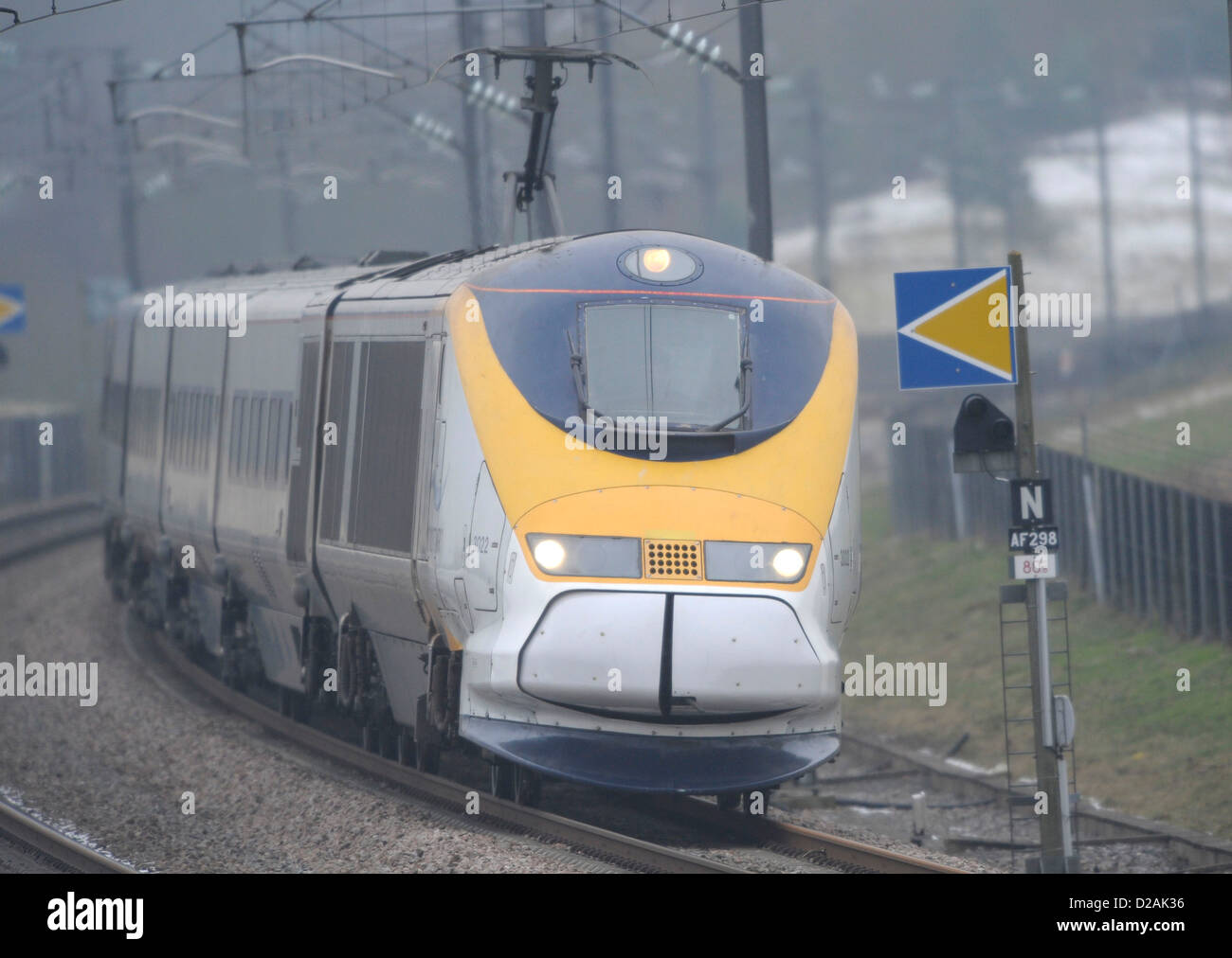 Eurostar rounds a bend near Pluckley, Kent on the way to the continent, 18th January 2013. Stock Photo