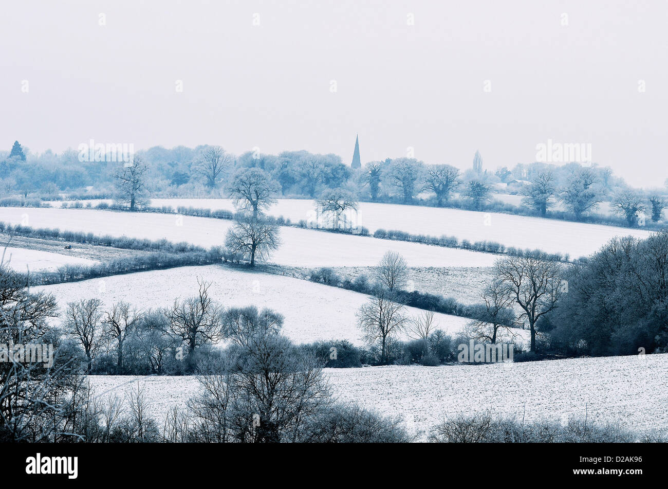 Icy fields near Thorpe Malsor, Northamptonshire, UK is braced for more snow later today, 18th January 2013. Photo - Stock Image