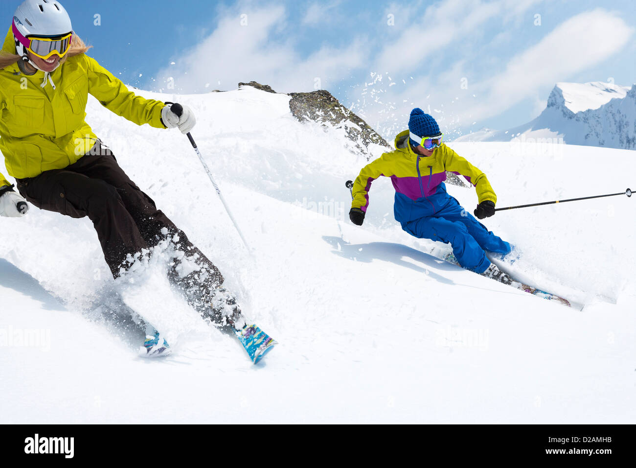 Skiers on snowy slope - Stock Image