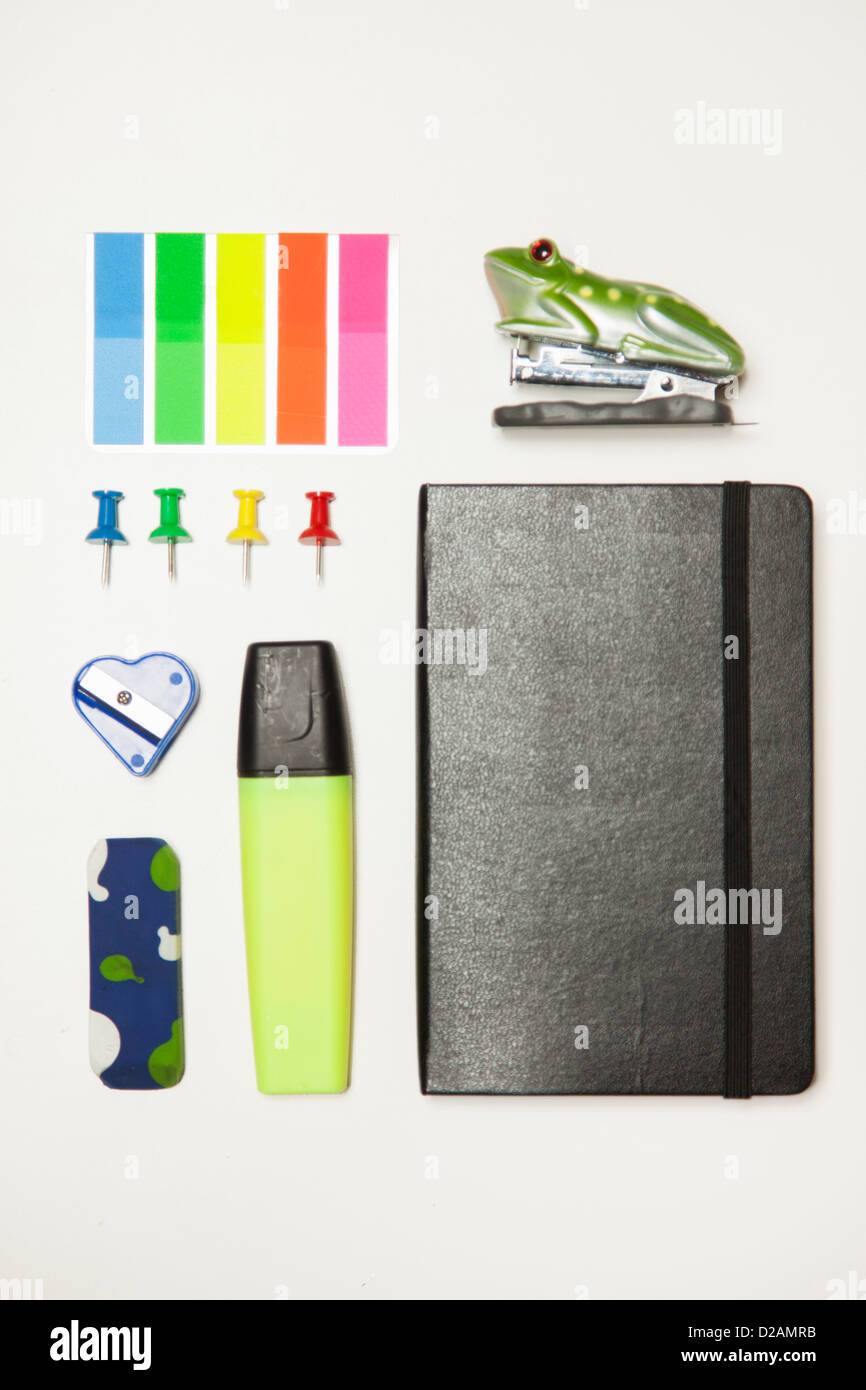 Office supplies neatly arranged - Stock Image