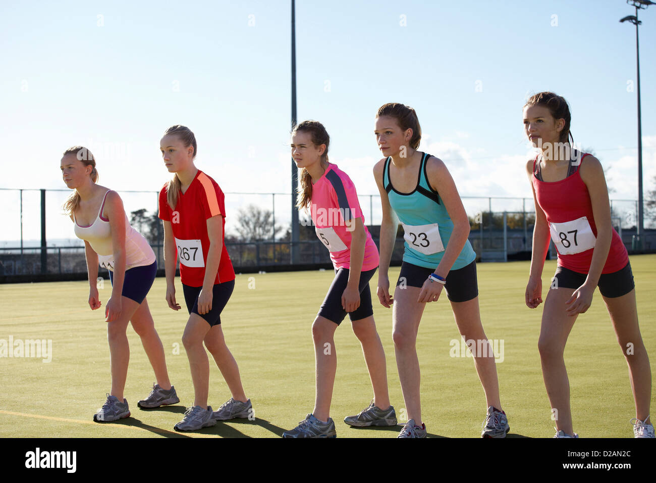 Runners lined up to race in field - Stock Image