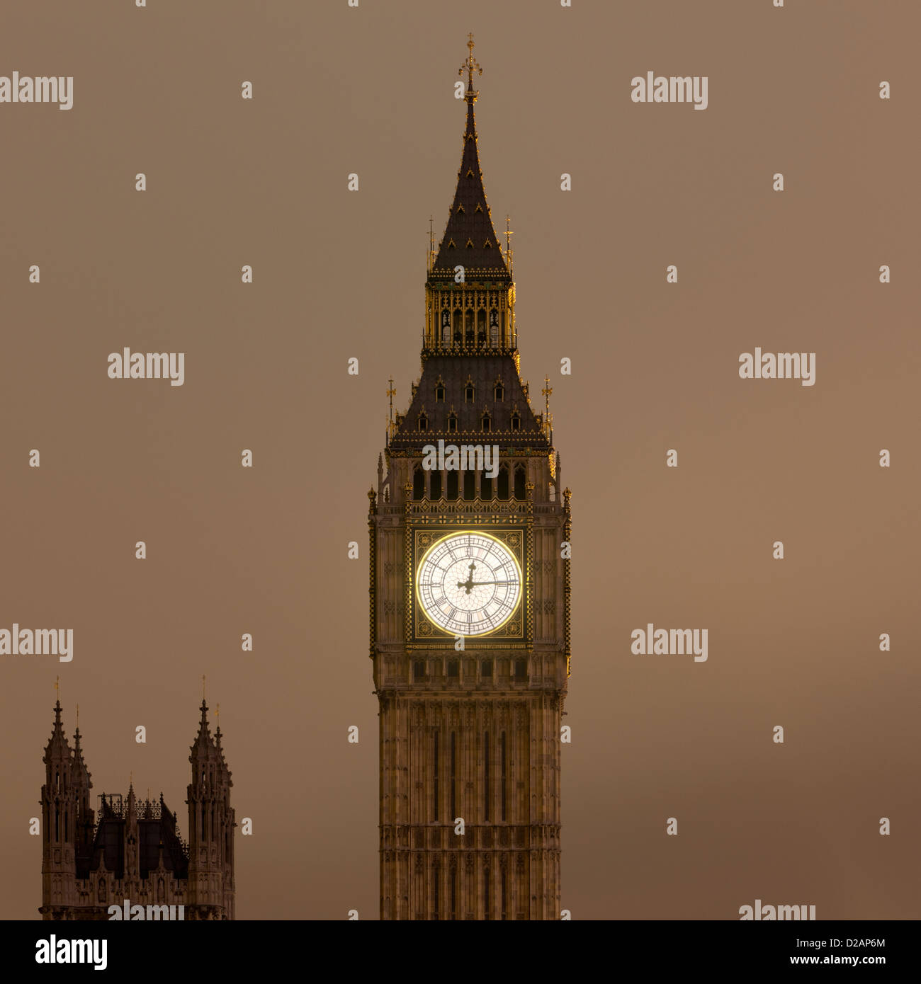Big Ben clock tower lit up at night - Stock Image