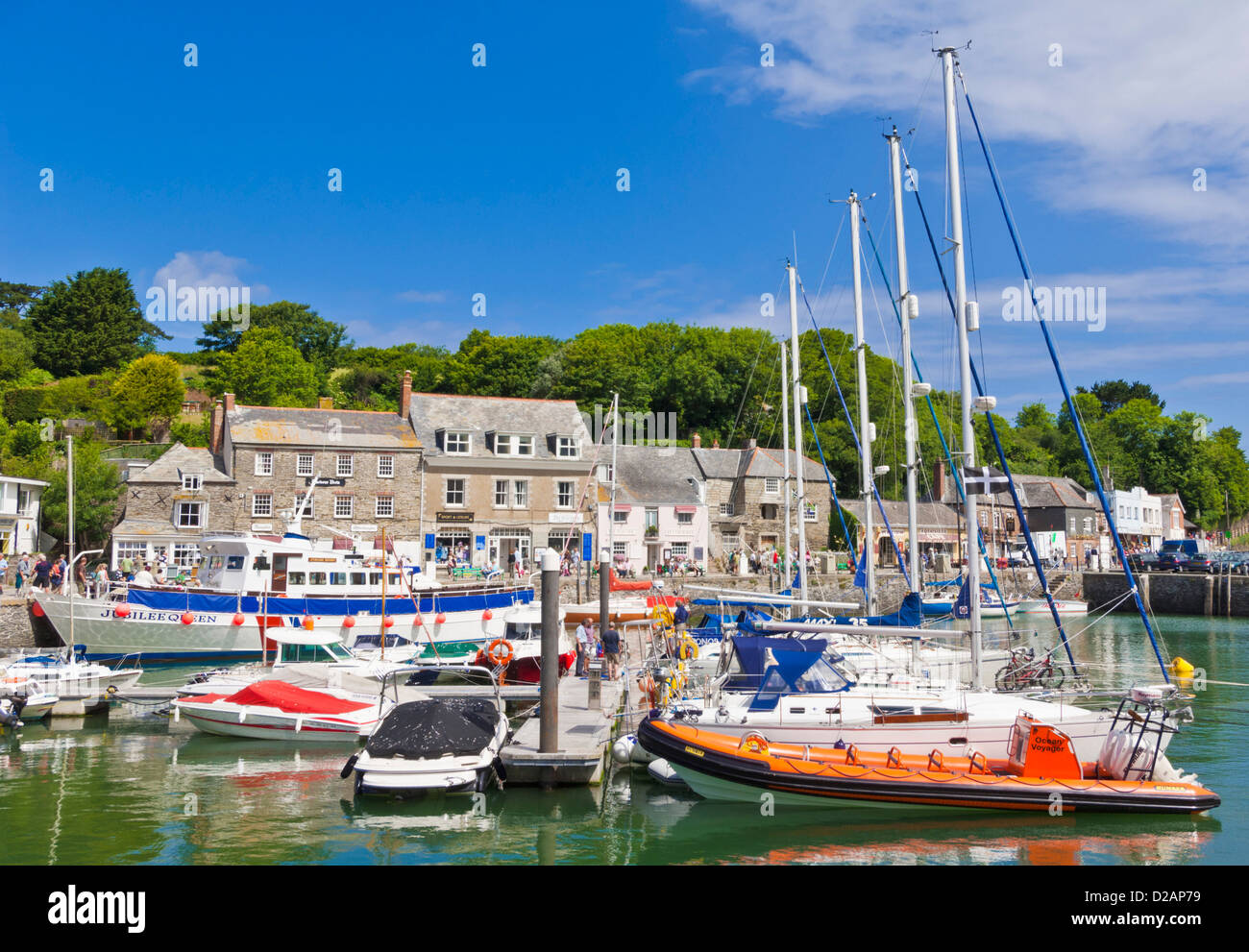 Boats moored in the harbour, Padstow, Cornwall, England, GB, UK, EU, Europe - Stock Image