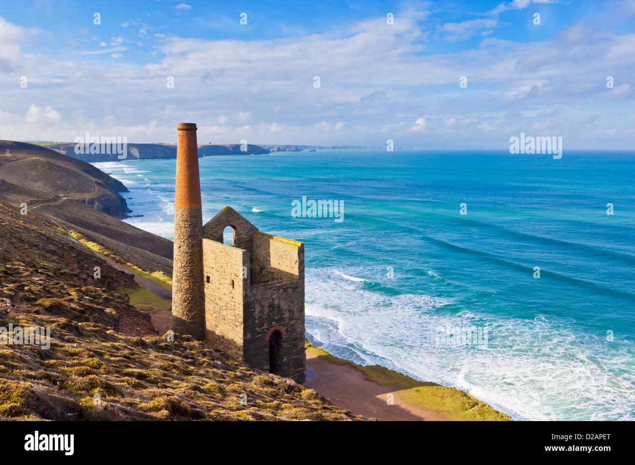 Wheal Coates tin mine near St Agnes North Cornwall coast England GB UK EU Europe - Stock Image