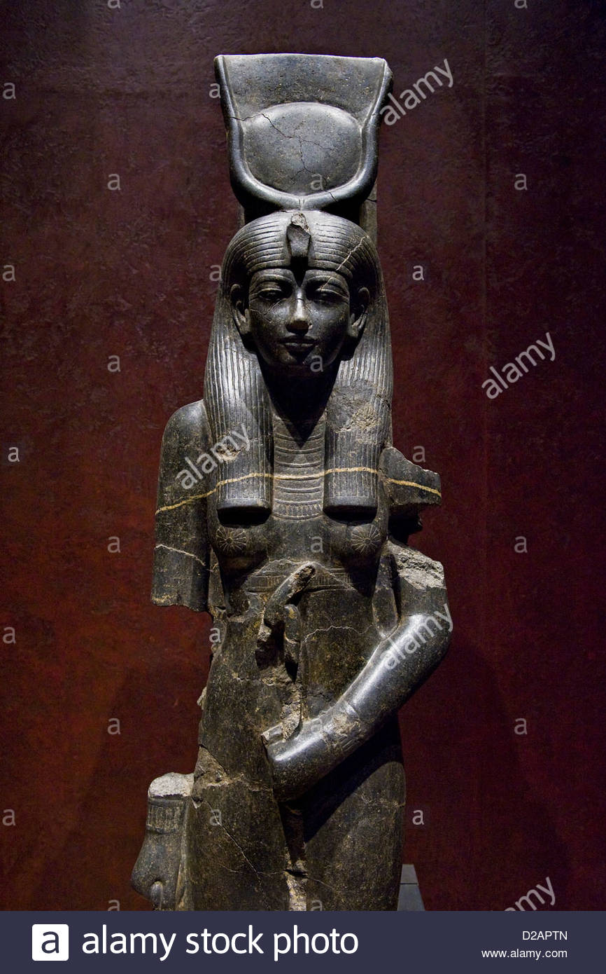 Italy,Piedmont,Turin,Egyptian Museum,Statuary room,Hathor goddess - Stock Image