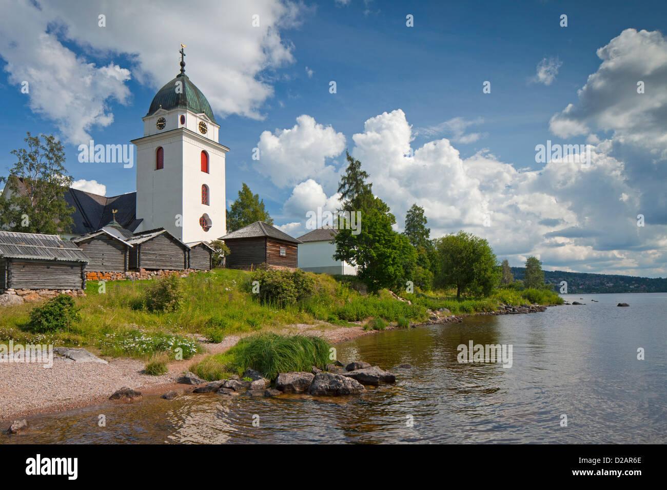 Rättvik Church on the shore of lake Siljan, Dalarna, Sweden, Scandinavia - Stock Image