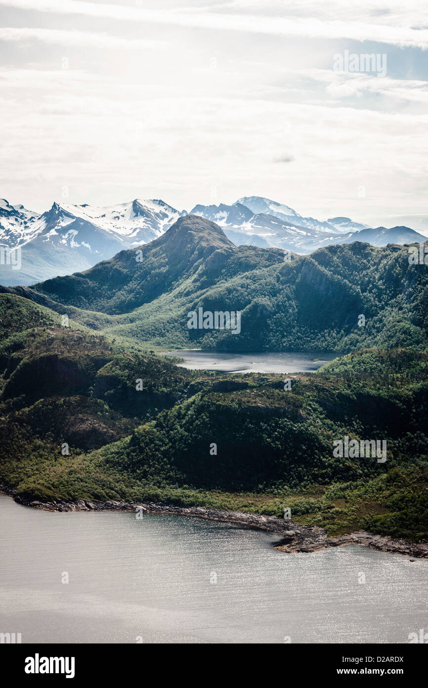 Mountains and still lake - Stock Image