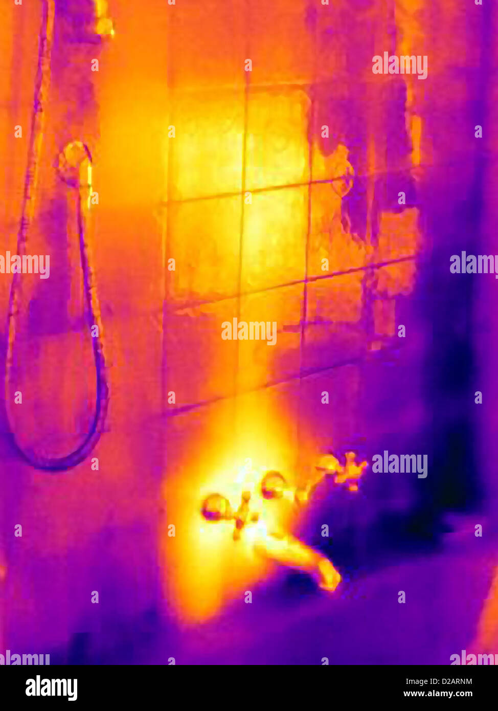 Thermal image of shower faucet - Stock Image