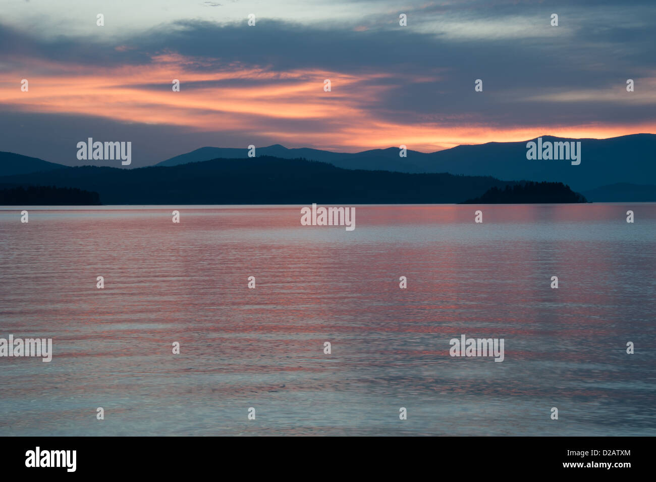 Summer sunset on Lake Pend Oreille in northern Idaho. - Stock Image