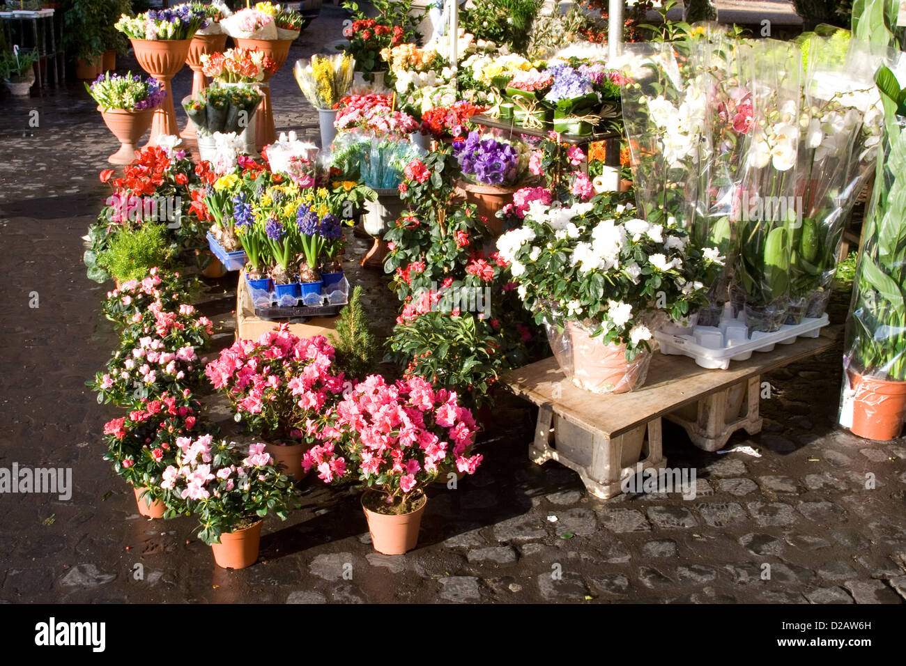Street flower stand - Stock Image