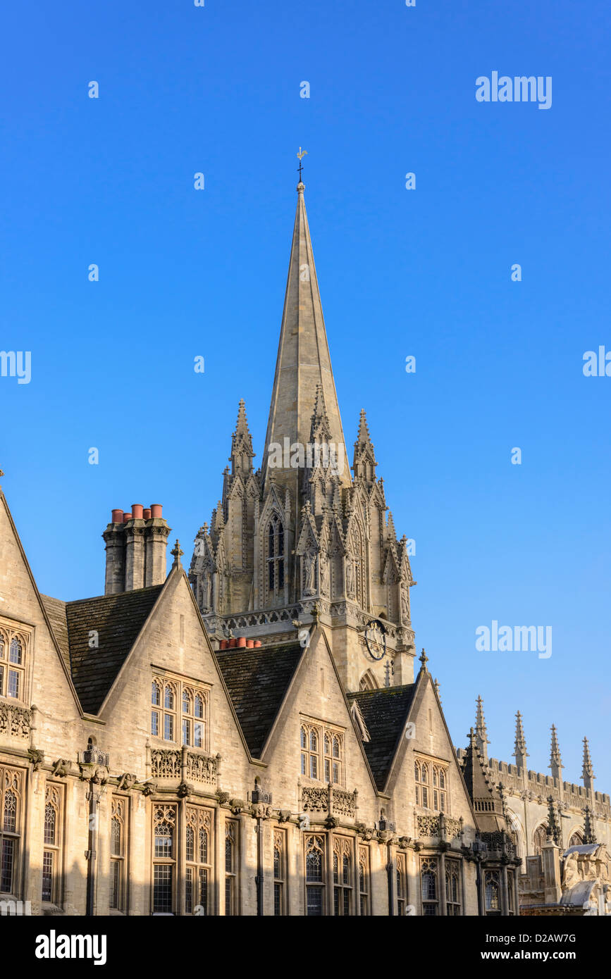 Spire of St Mary's church also known as the University Church from the High Oxford England UK - Stock Image