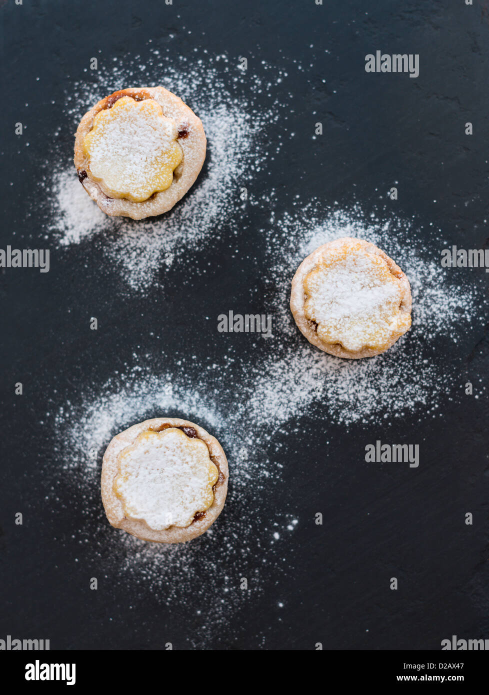 Hand made miniature mince pies. Stock Photo