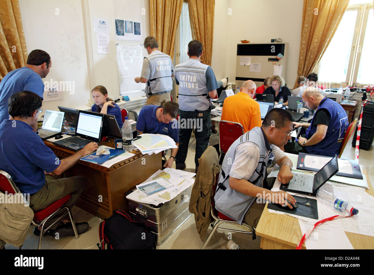 Padang, Indonesia, Coordinating Center for the earthquake area in the Government Palace - Stock Image