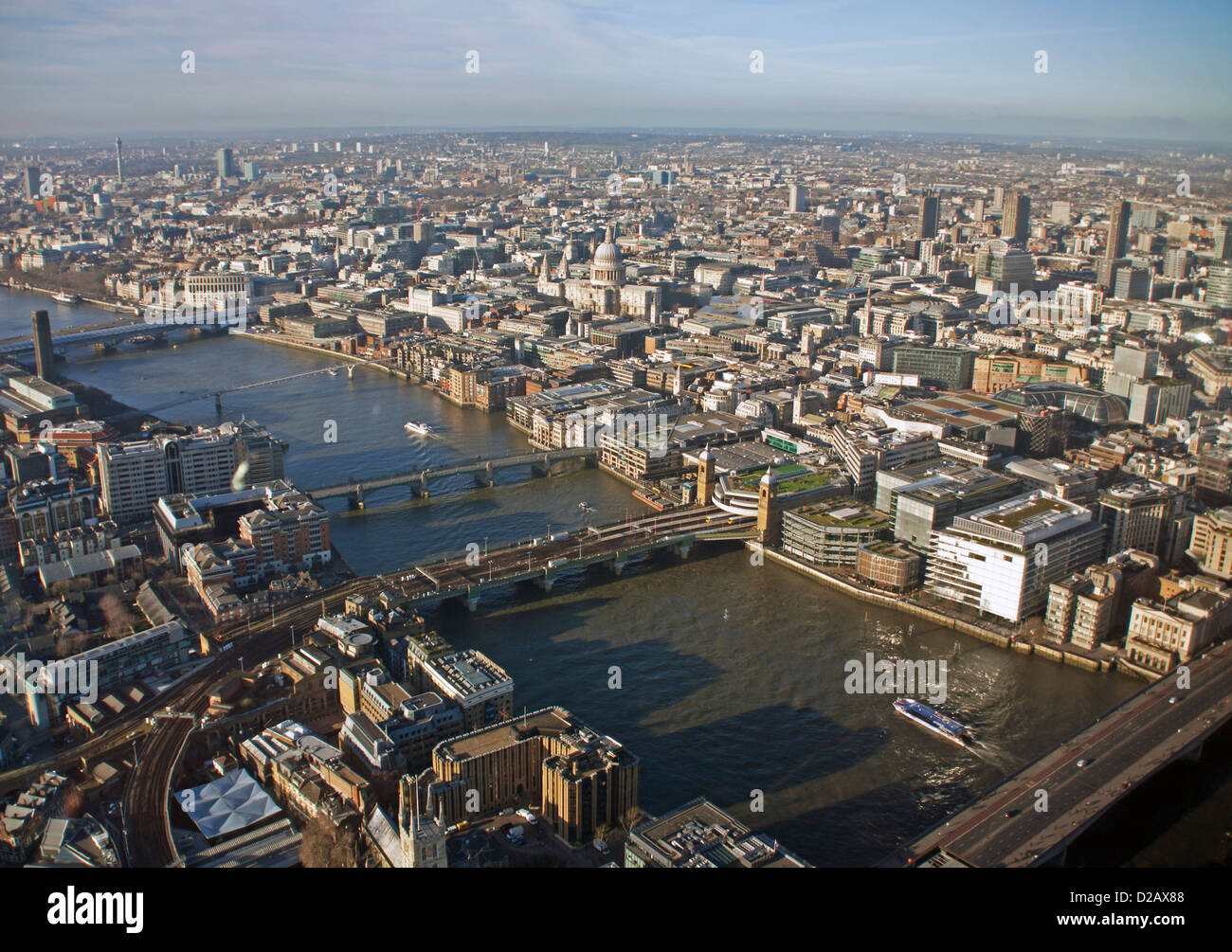 The View from The Shard, including St. Paul's Cathedral, Southwark Bridge and Blackfriars Bridge, London, England, - Stock Image