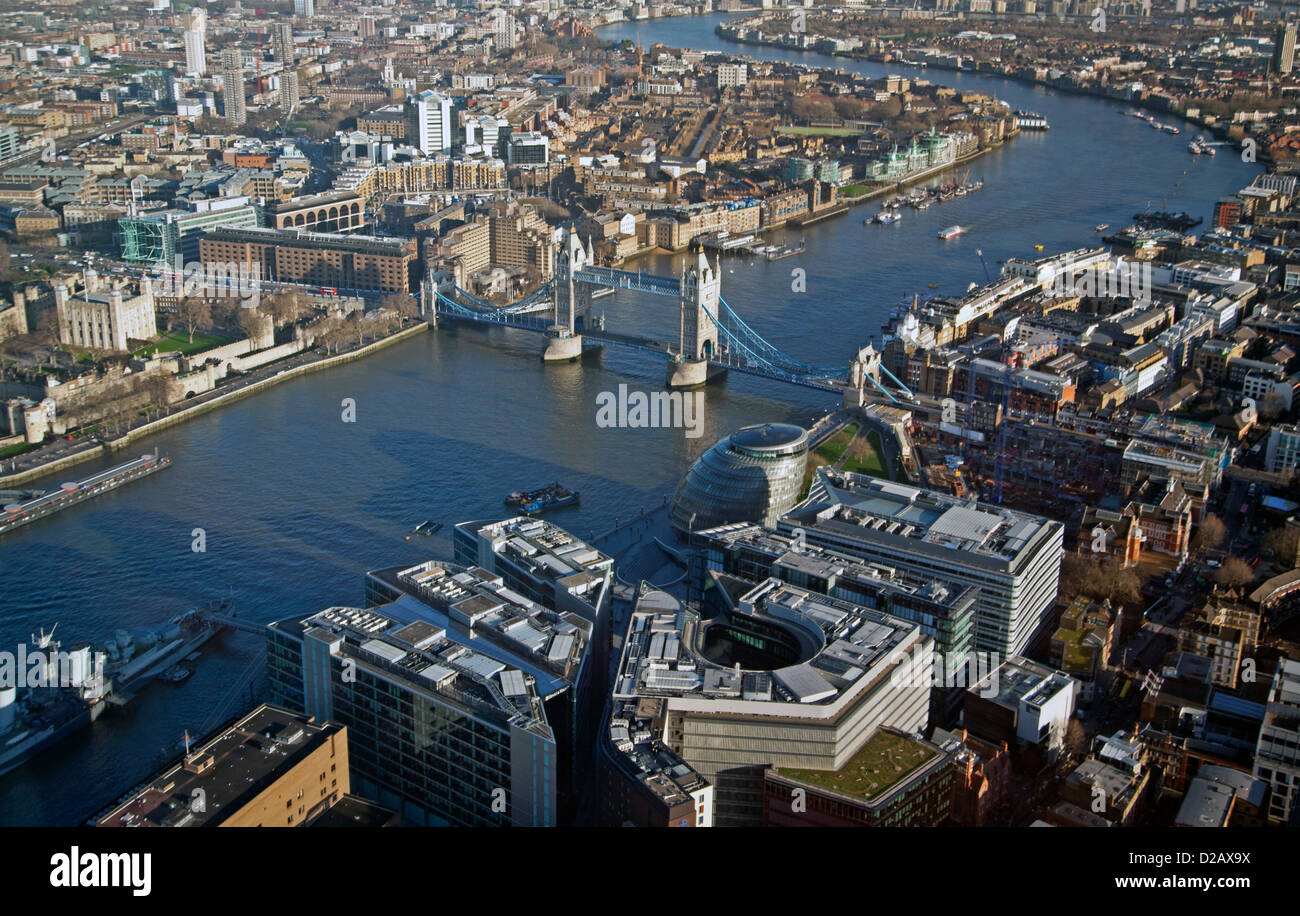 The View from The Shard, including Tower Bridge, The Tower of London, HMS Belfast and City Hall, London, England, - Stock Image