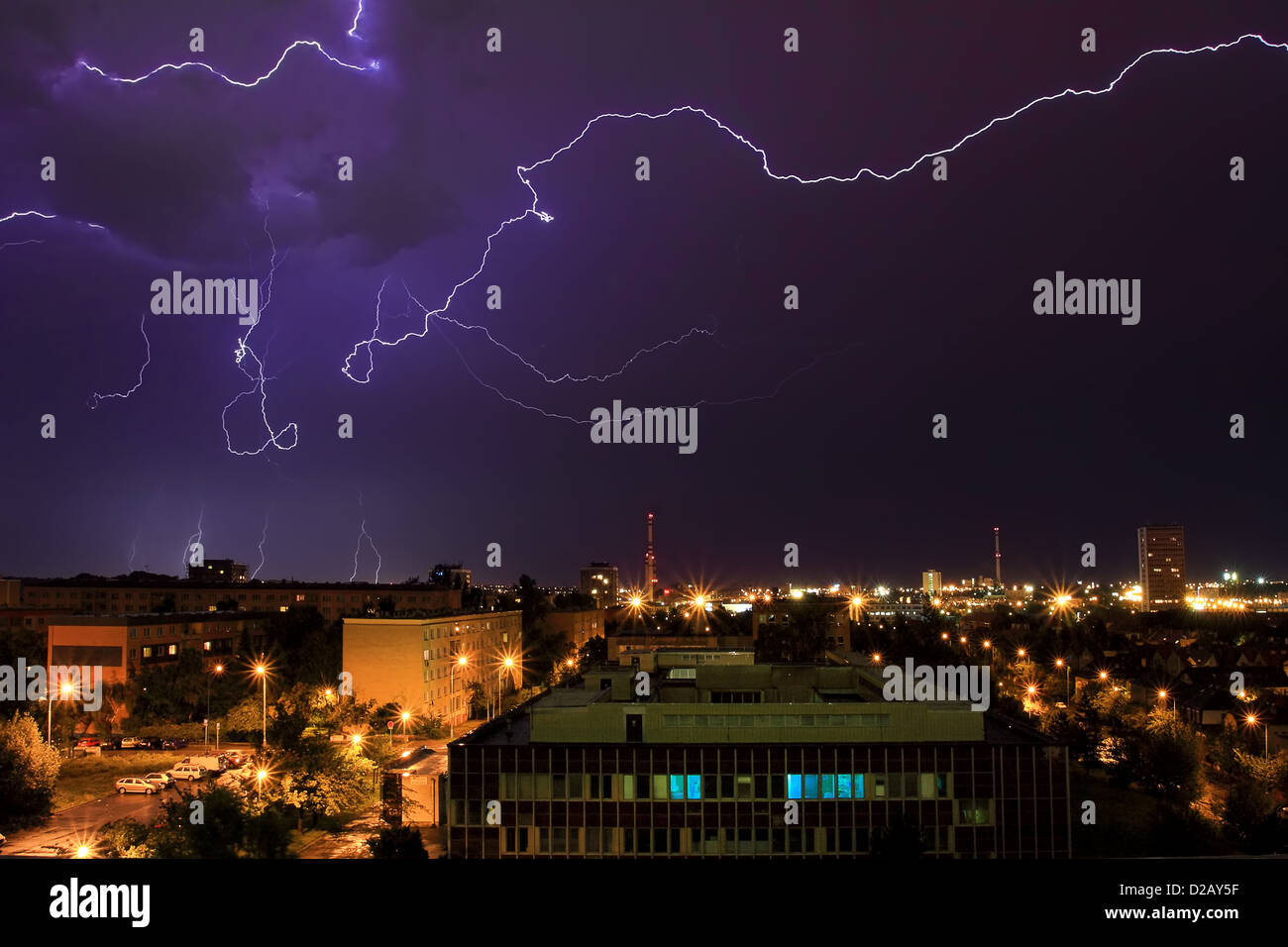 Lightning during thunderstorm over the city of Prague, Czech Republic (long exposure). Stock Photo