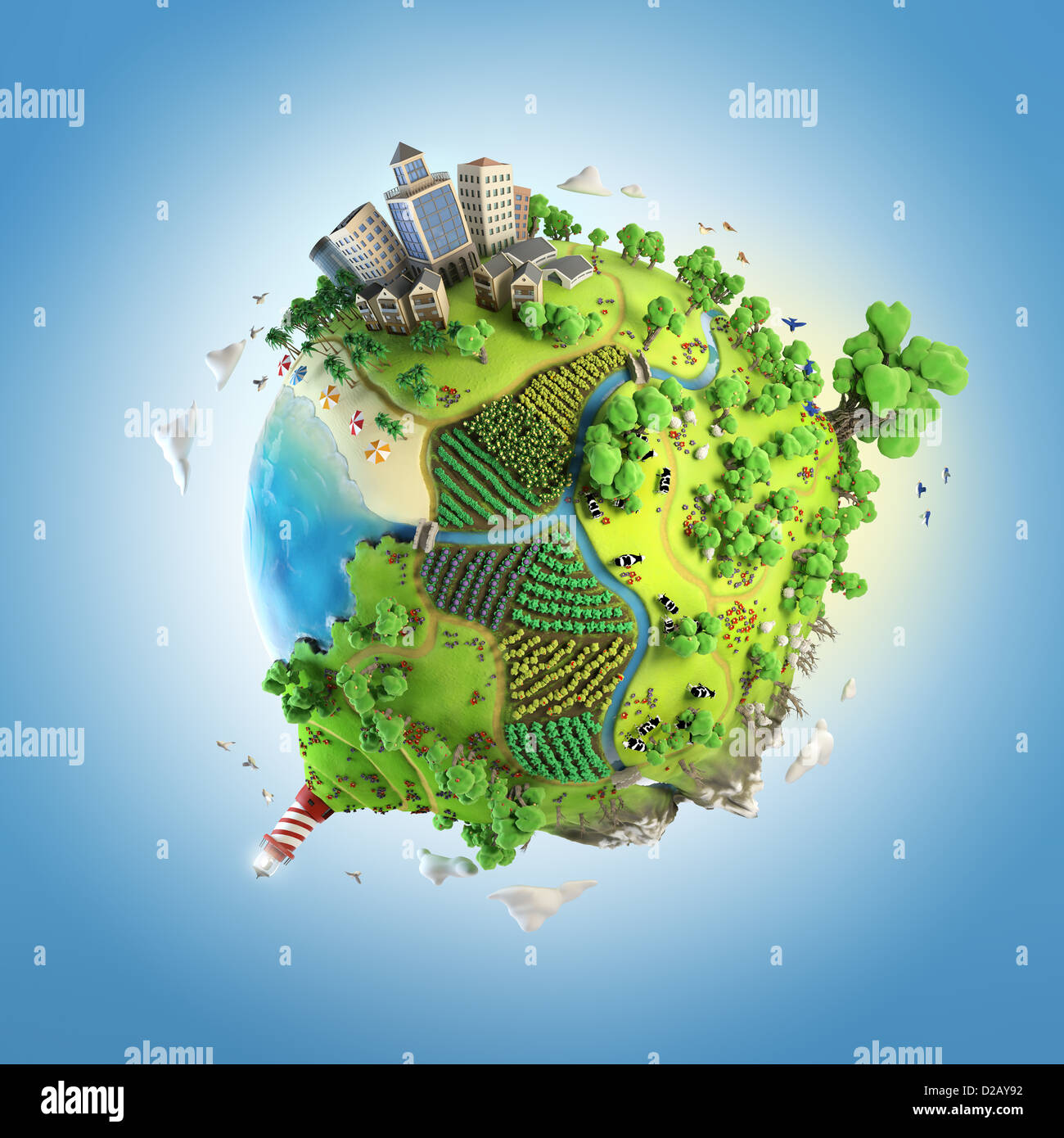 globe concept showing a green, peaceful and idyllic life style in the world in a cartoon style - Stock Image