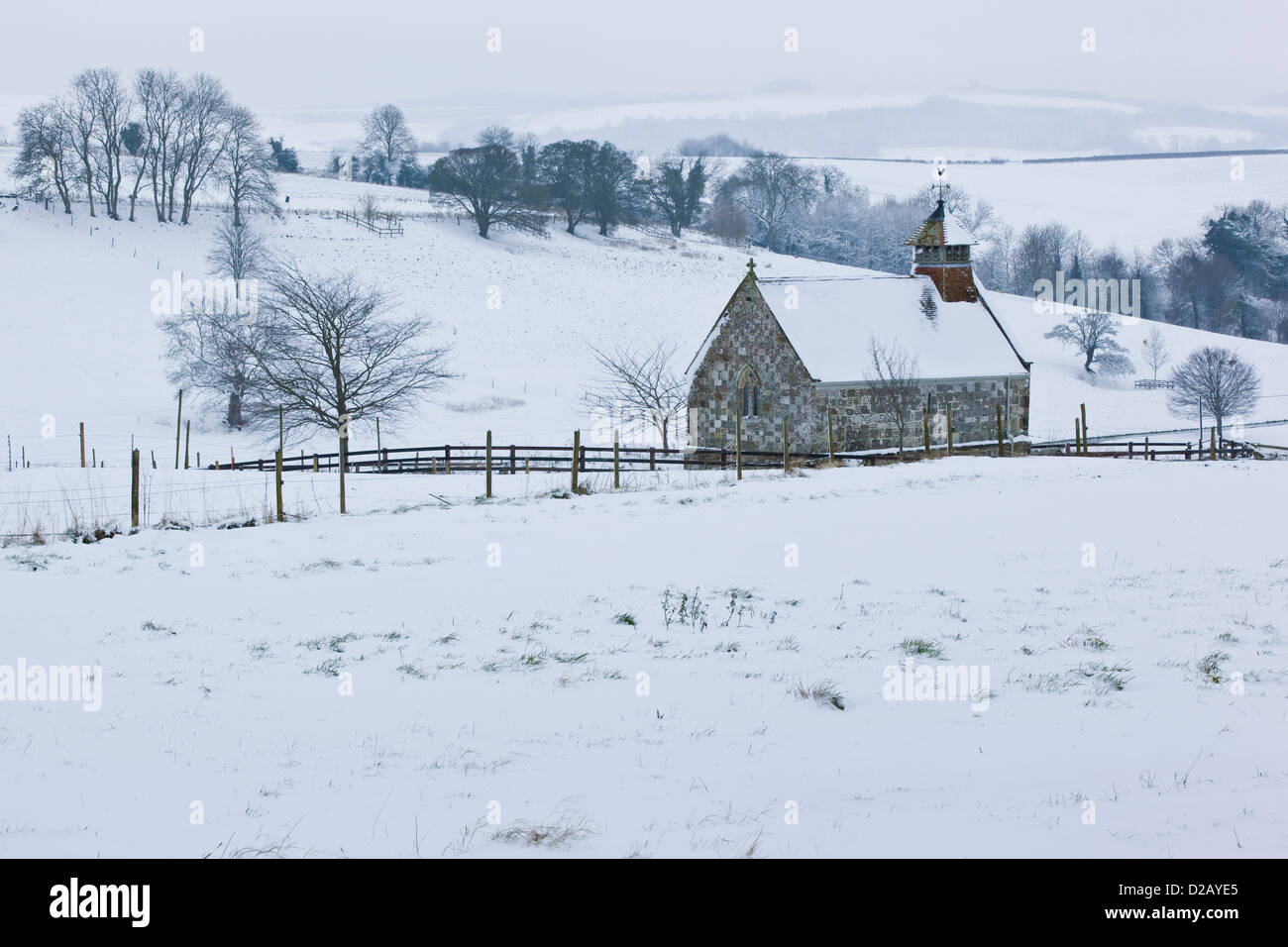 Friday January 18th 2013, the small Chapel at Fifield Bavant in Wiltshire surrounded by snow covered fields. Fifield - Stock Image