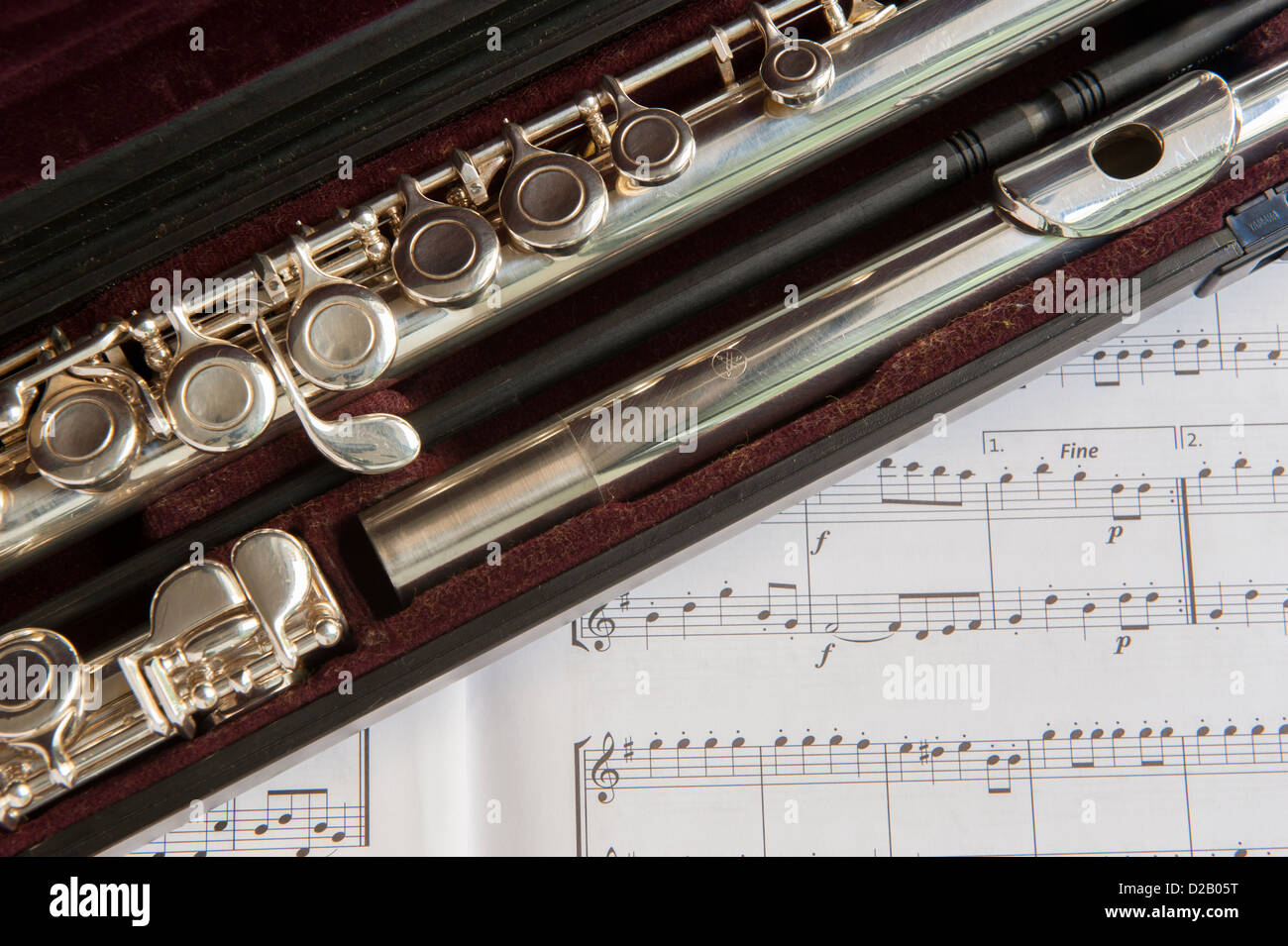 Close-up partial view of dismantled sections of flute in case (blow