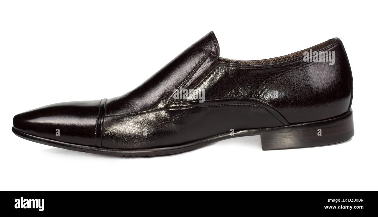 Stylish classic black leather mens slip