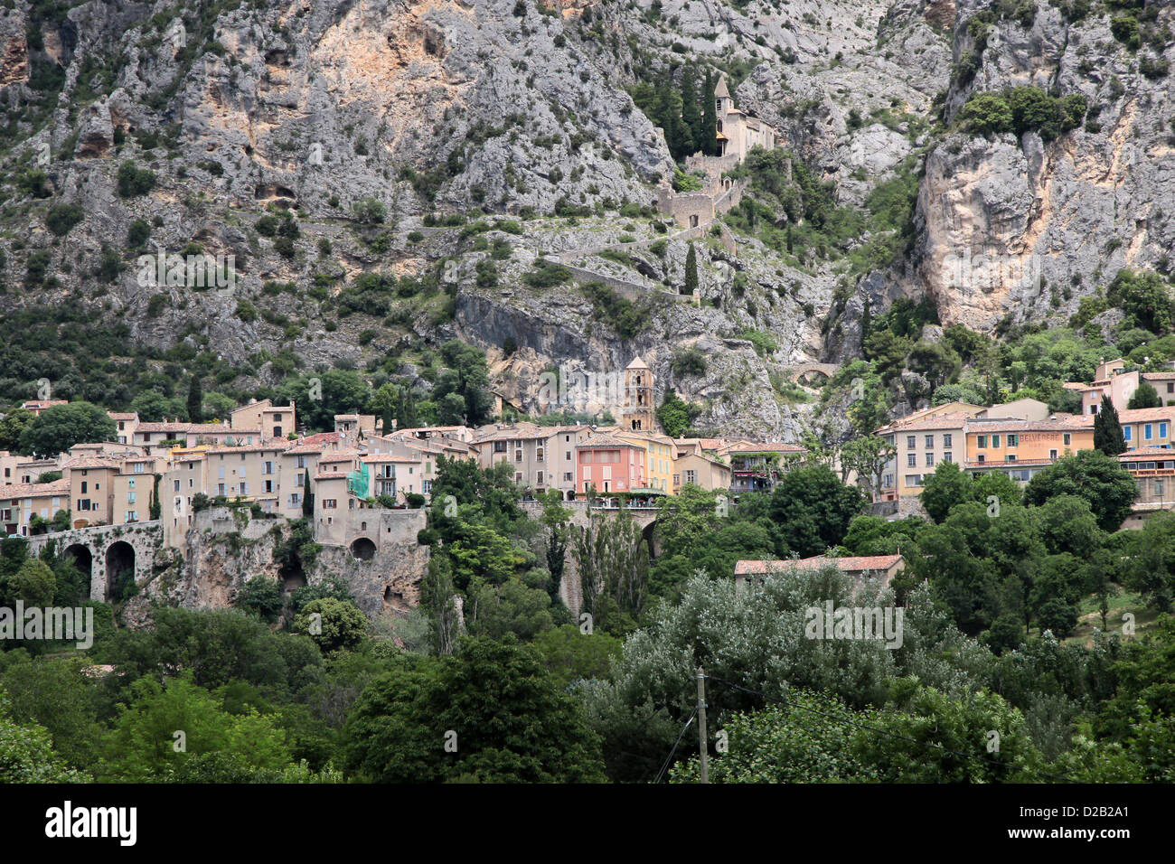 The village of Moustiers-Sainte-Marie in Haute-Provence, France Stock Photo