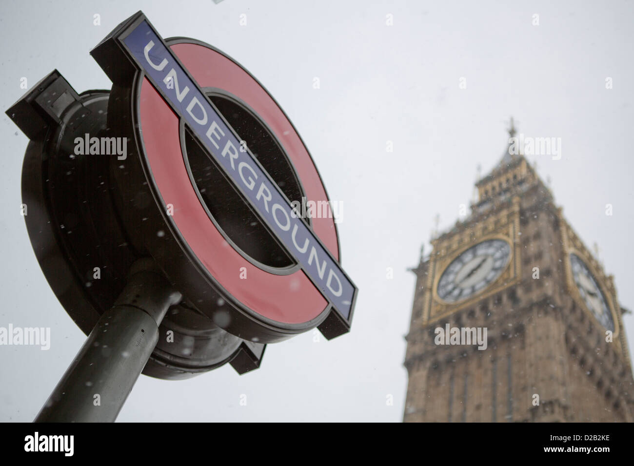 Snowing in London. - Stock Image
