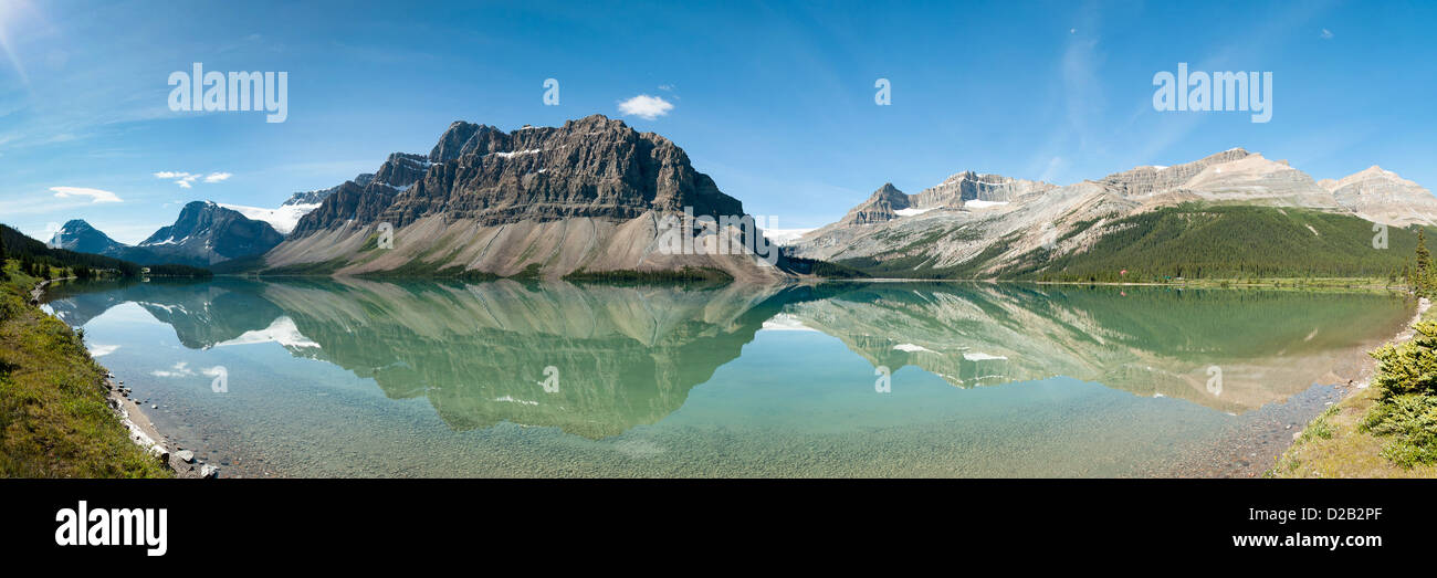 Bow Lake Panorama in Banff National Park, Canada - Stock Image