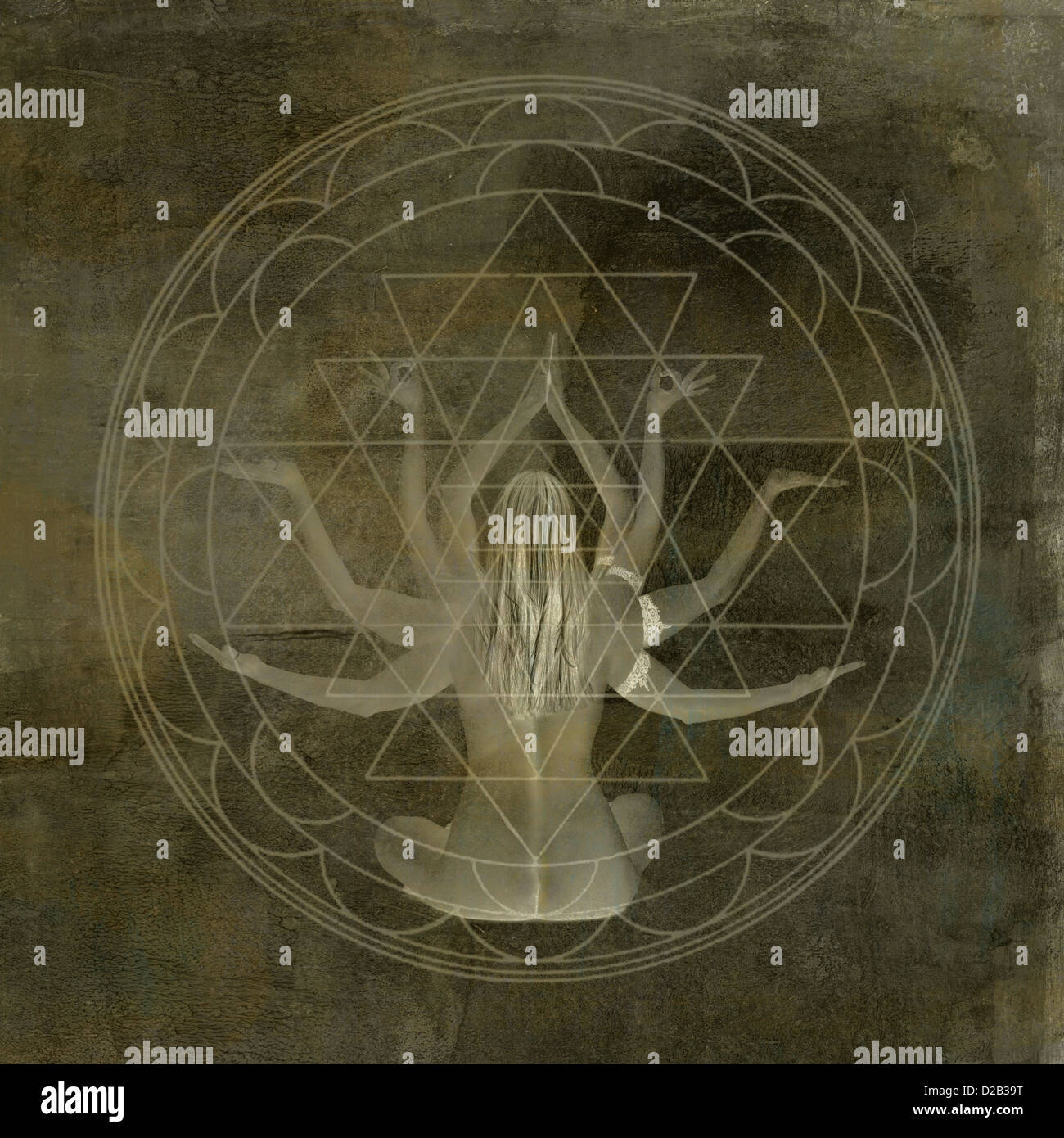 Woman with eight arms in the center of a geometric mandala. - Stock Image