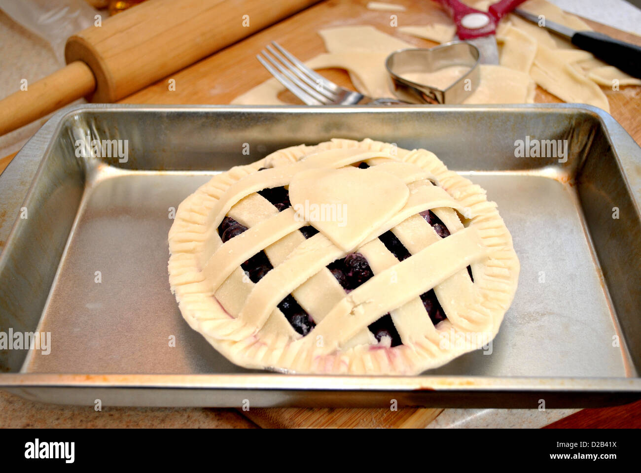 Fresh Blueberry Pie Ready for the Oven Stock Photo