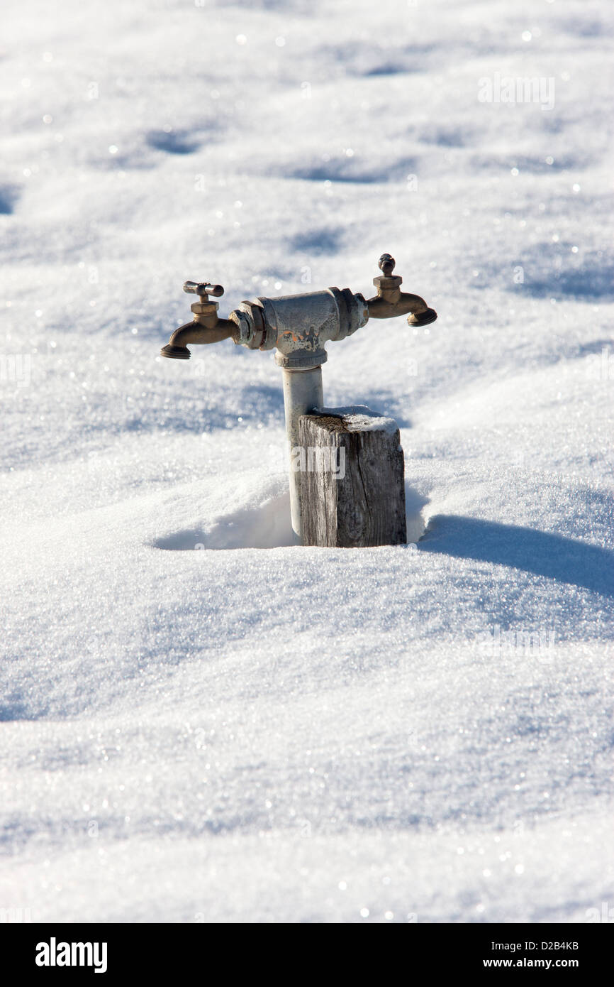 A double headed water faucet rises out of the snow. - Stock Image