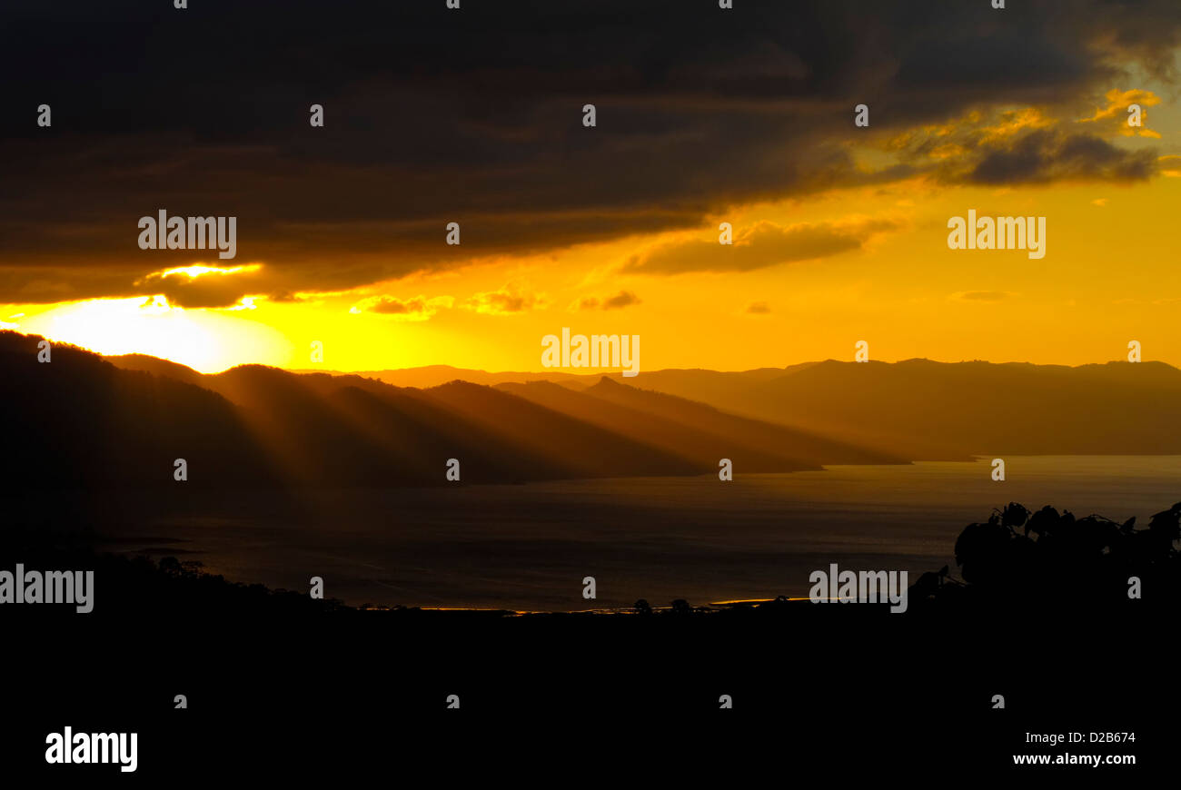 Sunset on Arenal Lake Costa Rica - Stock Image