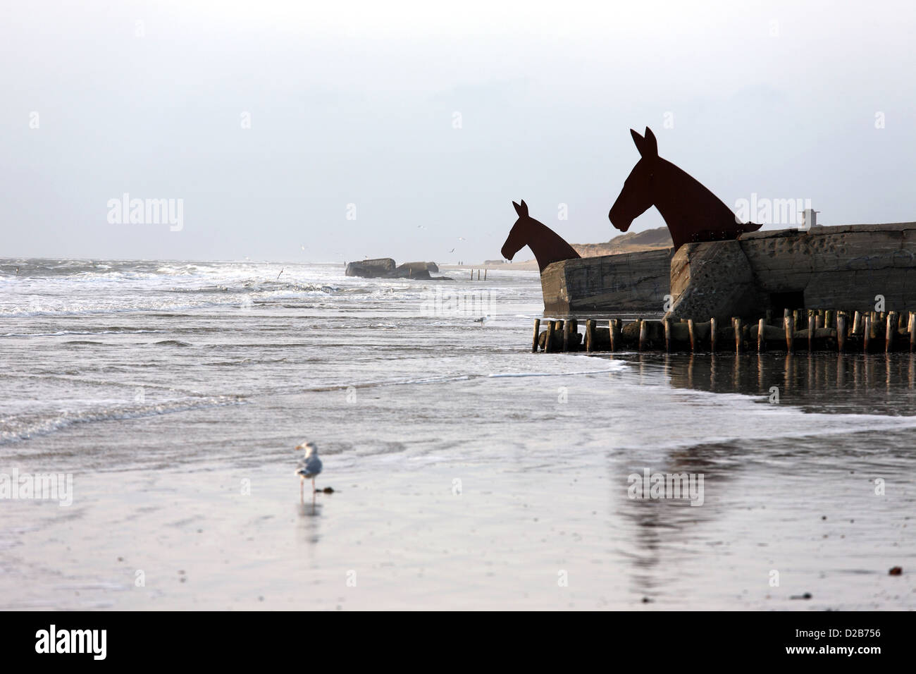 blavand denmark hitler 39 s atlantic wall bunker of irony with horse stock photo 53107522 alamy. Black Bedroom Furniture Sets. Home Design Ideas