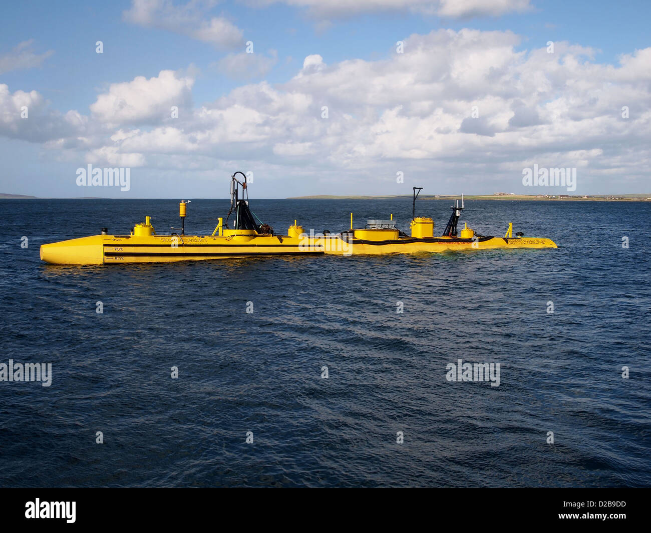 A Floating tidal generation device being tested in Orkney, Scotland. - Stock Image