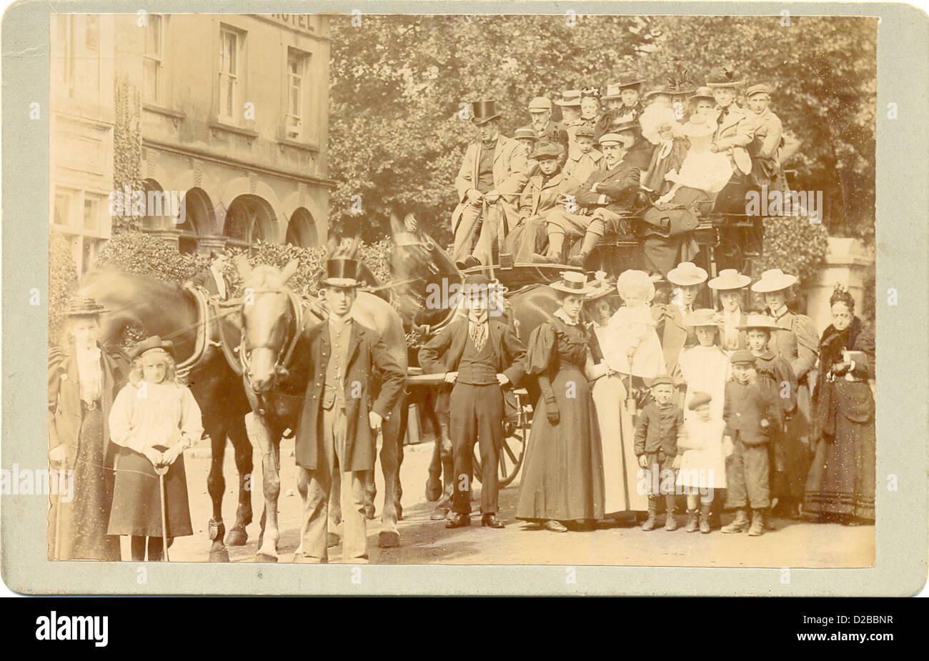 Cabinet photograph of Victorian coach outing - Stock Image