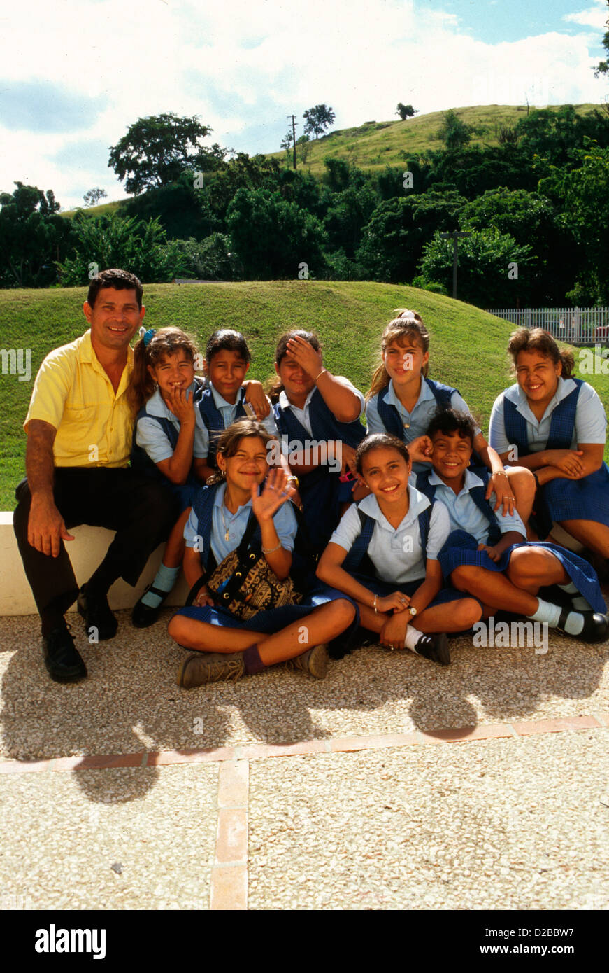 Puerto Rico, Ponce, Schoolchildren In Uniforms - Stock Image
