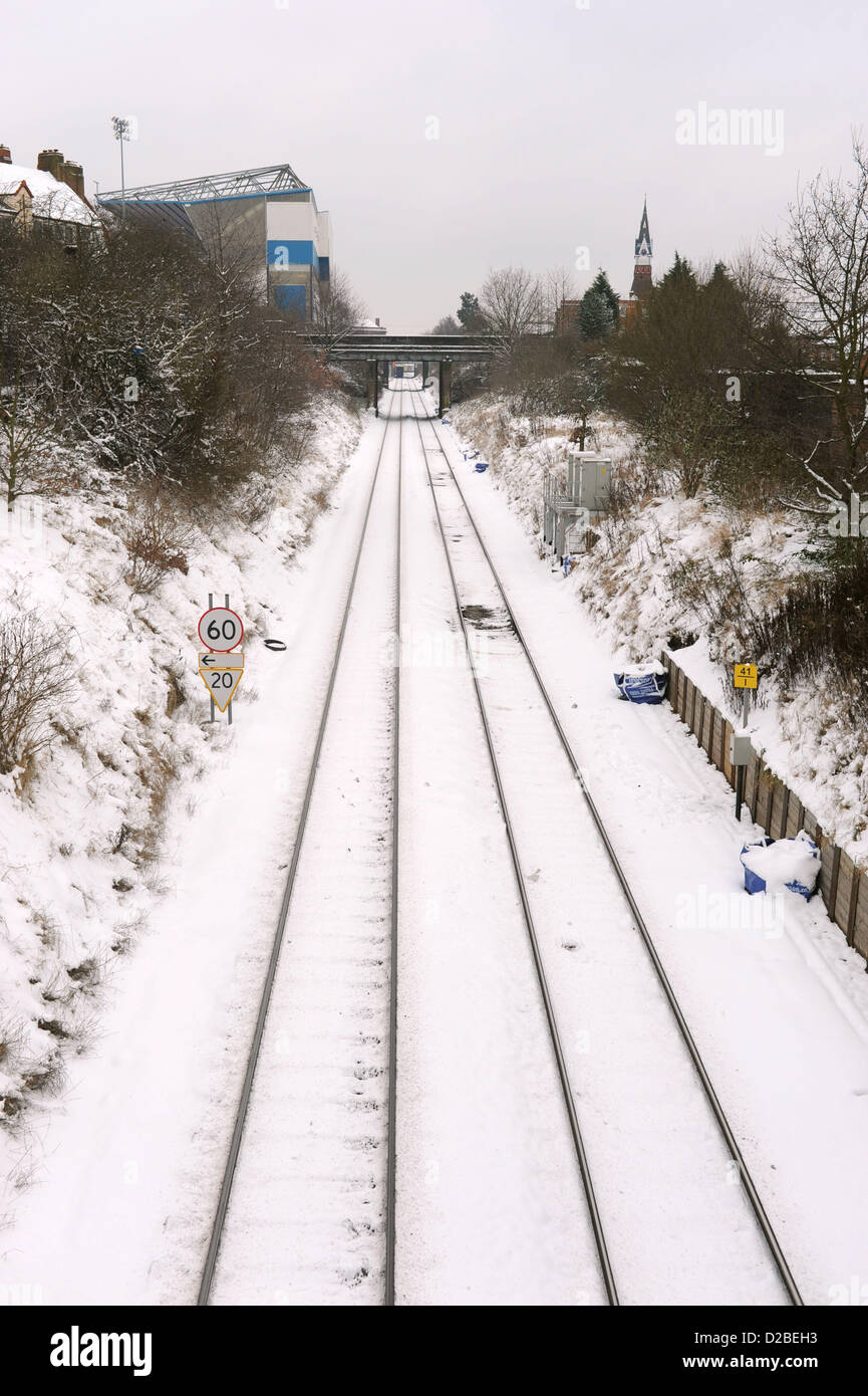 Railway Tracks Covered In Snow On The Second Day Of The Snowy Weather In Birmingham Today Uk