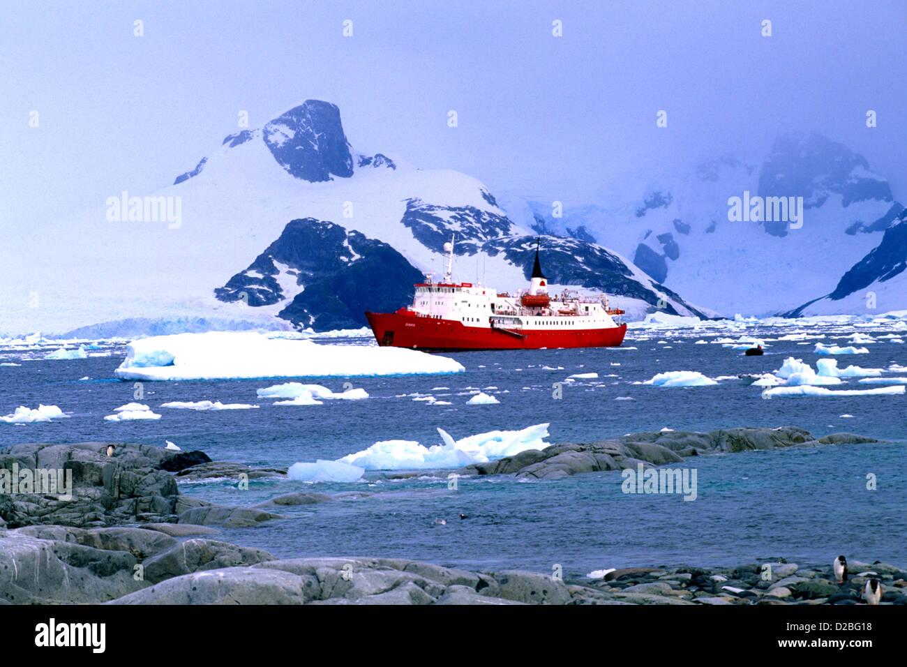 Antarctica, Petermann Island. Ice Breaker Ship Stock Photo