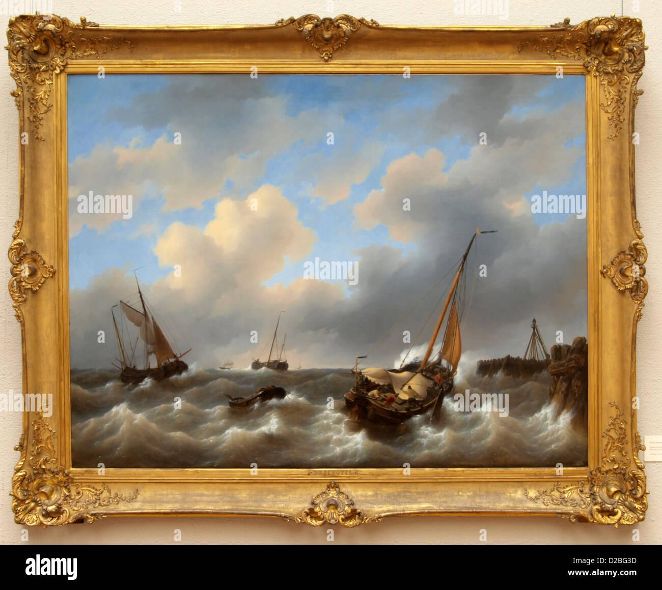 Peter John Platter (1808-1865), Storm on the Zuiderzee Medemblik, 1840, Oil on canvas - Stock Image