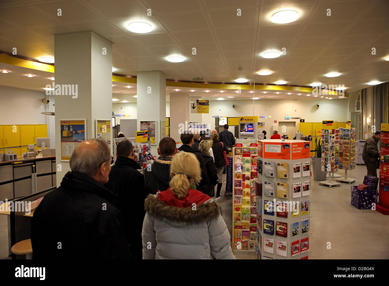 Berlin, Germany, queue at a branch of Postbank - Stock Image