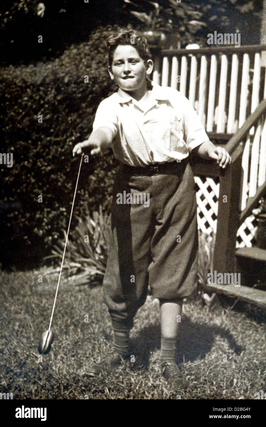 Young Boy With Yo-Yo. 1940'S. Stock Photo