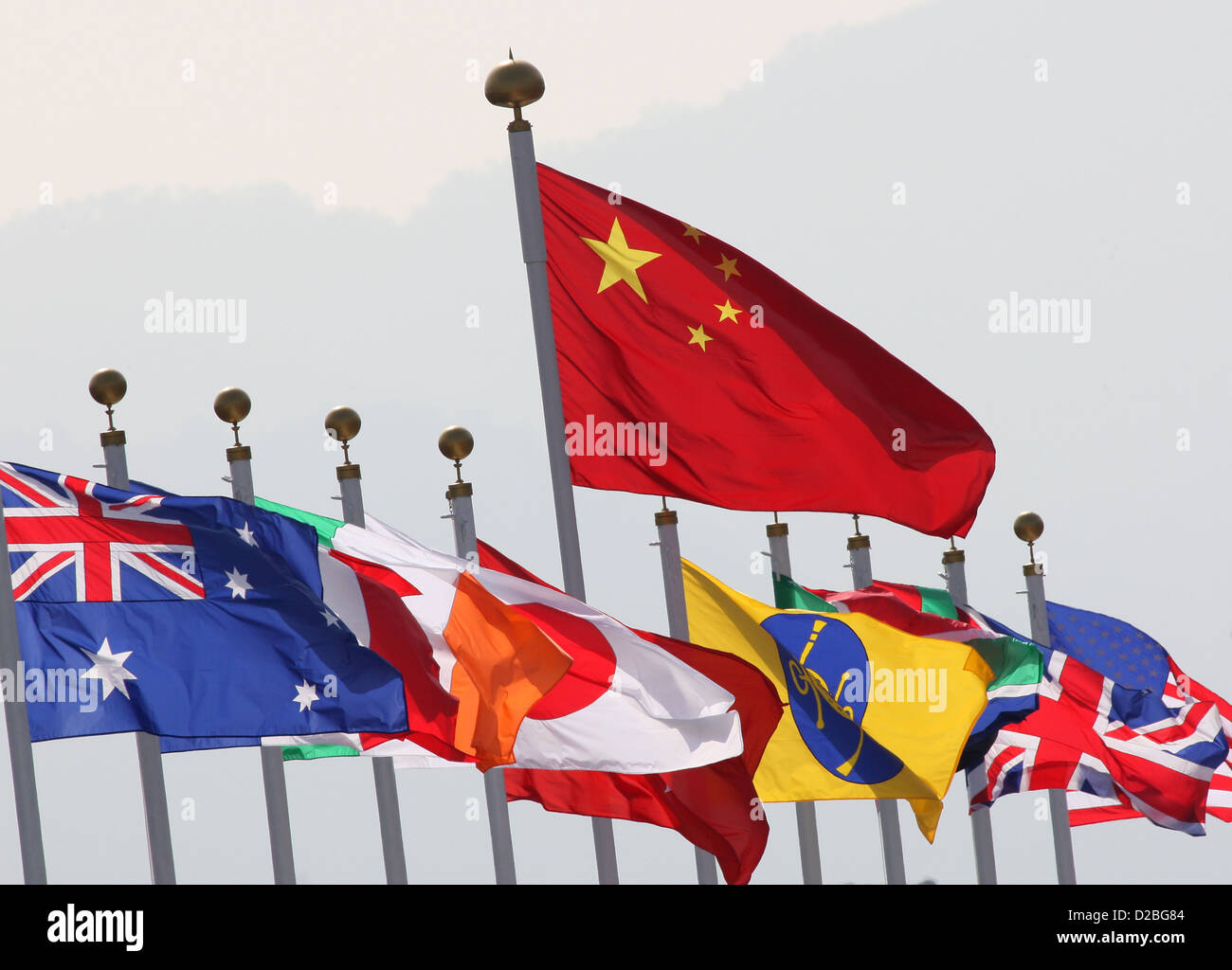Hong Kong, China, national flags of various countries to the wind, the Chinese all over - Stock Image