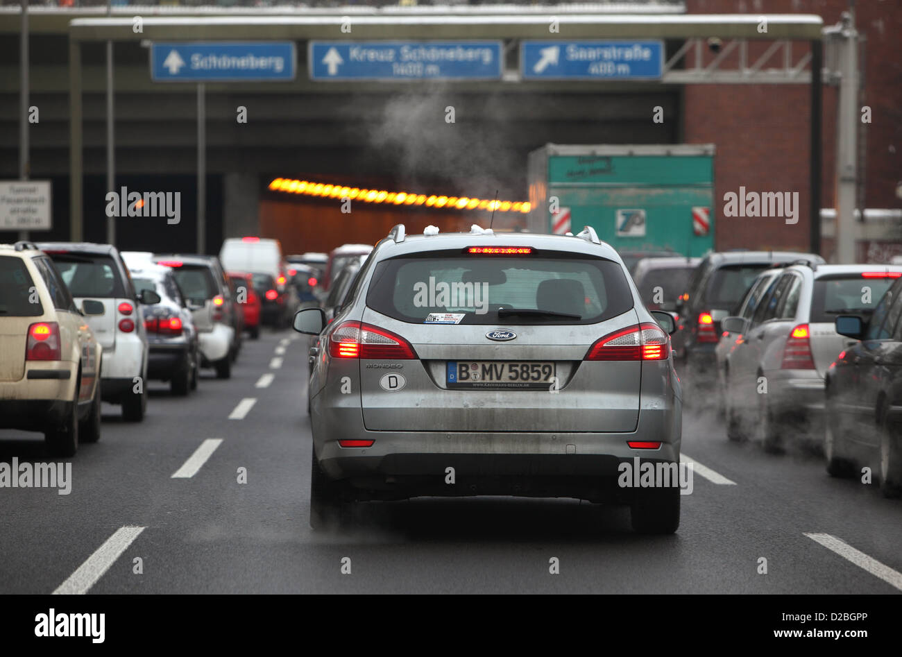 Berlin, Germany, a traffic jam on the motorway A 103 - Stock Image