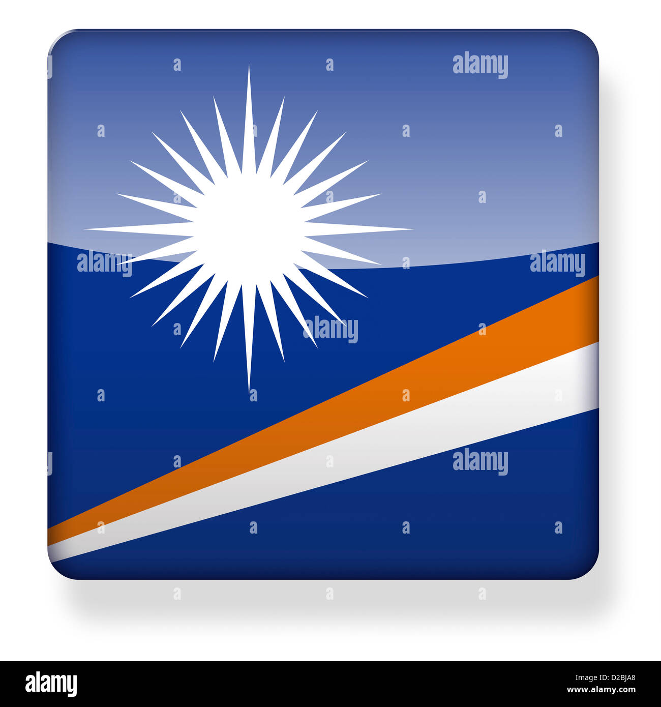 Marshall Islands flag as an app icon. Clipping path included. - Stock Image