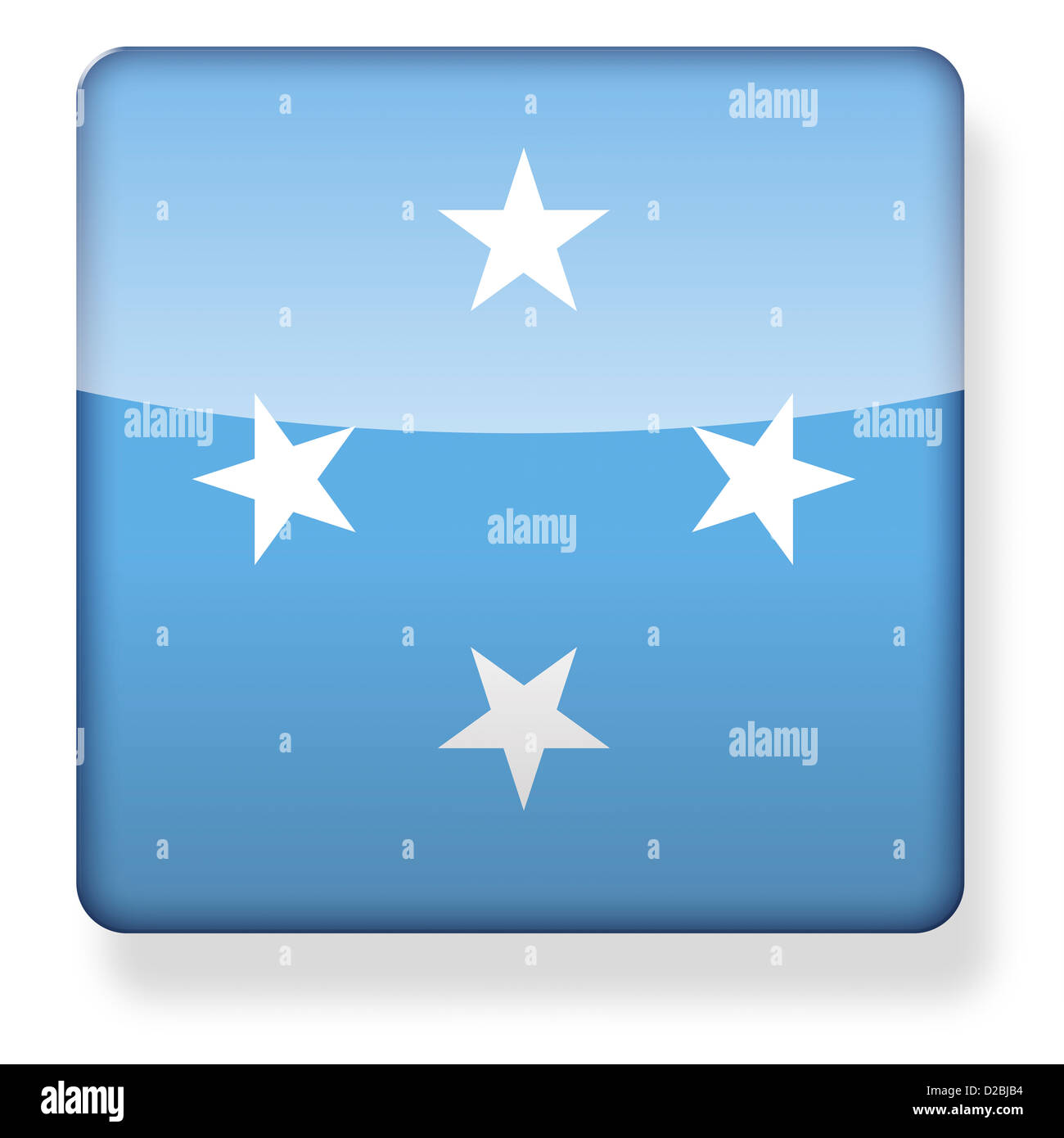Micronesia flag as an app icon. Clipping path included. - Stock Image