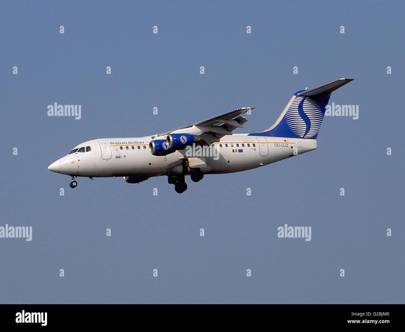 British Aerospace BAe 146/Avro RJ serial E2305 registration OO-DJZ Stock Photo