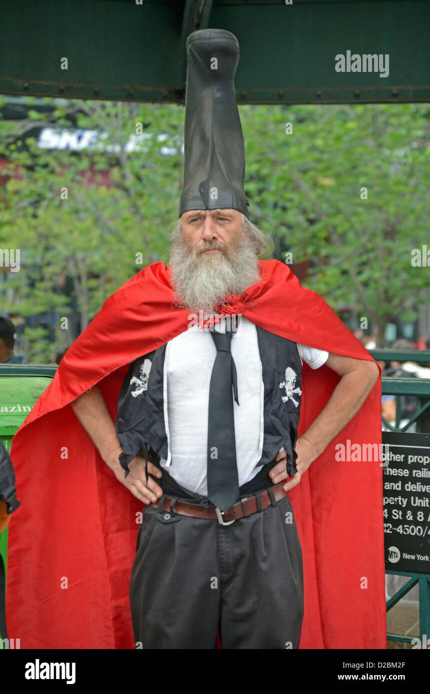 Portrait of Vermin Love Supreme, anarchist & activist photographed in Union Square Park in New York City. Stock Photo