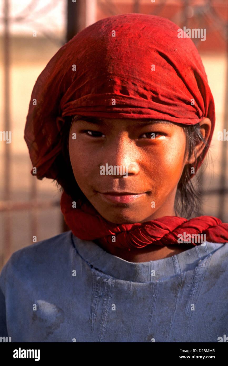 Nepal, Katmandu. Portrait Of A Girl - Stock Image